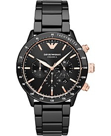 Men's Chronograph Black Ceramic Bracelet Watch 43mm