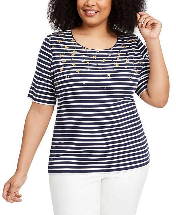 Karen Scott Plus Size Cotton Stardust T-Shirt, Created for Macy's