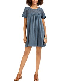 Eyelet Flutter-Sleeve T-Shirt Dress, Created for Macy's