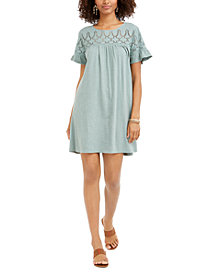 Style & Co Eyelet Flutter-Sleeve T-Shirt Dress, Created for Macy's