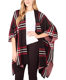 Plaid-Print Open-Front Poncho