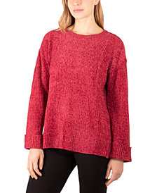 NY Collection Cuffed High-Low Sweater