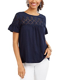 Petite Eyelet Top, Created for Macy's