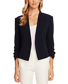 Crepe Gathered-Sleeve Blazer