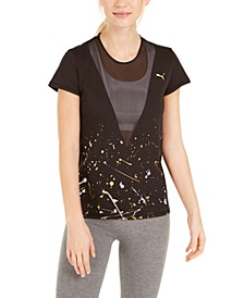 Metal Splash Mesh-Trimmed T-Shirt