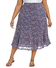 Plus Size Floral-Print Seamed Skirt