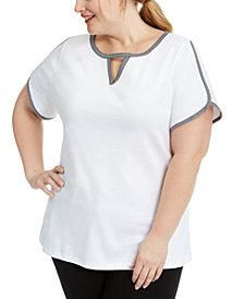 Karen Scott Plus Size Gingham Keyhole Contrast-Trim Top, Created for Macy's