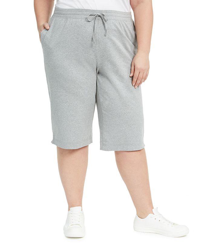Karen Scott Plus Size Sport Skimmer Knit Shorts, Created for Macy's