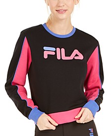 Nuria Fleece Colorblocked Cropped Sweatshirt