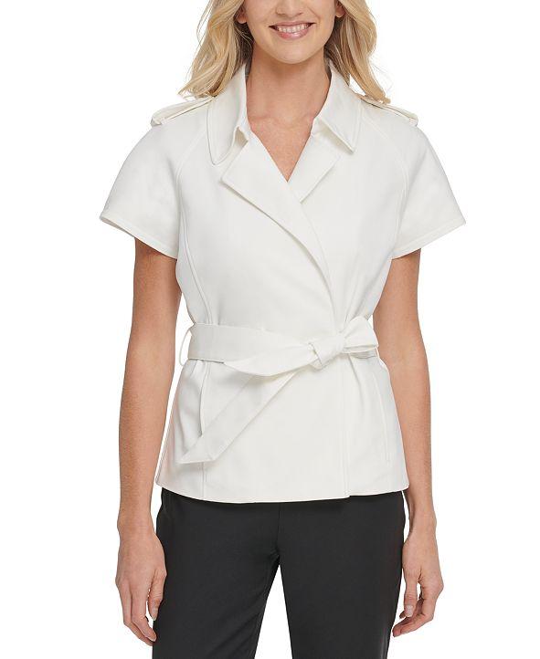 DKNY Belted Short-Sleeve Jacket