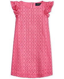 Toddler Girls Eyelet-Embroidered Cotton Dress