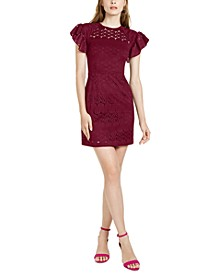 Flutter-Sleeve Lace Shift Dress