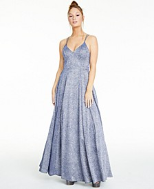 Juniors' Strappy-Back Glitter Gown