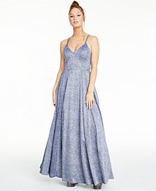 Sequin Hearts Juniors' Strappy-Back Glitter Gown