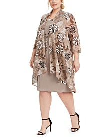 Plus Size Floral-Print Jacket & Necklace Dress
