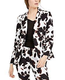 X-Fit Cow-Print One-Button Blazer