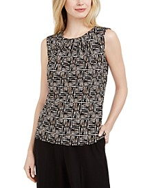 Petite Printed Pleat-Neck Top