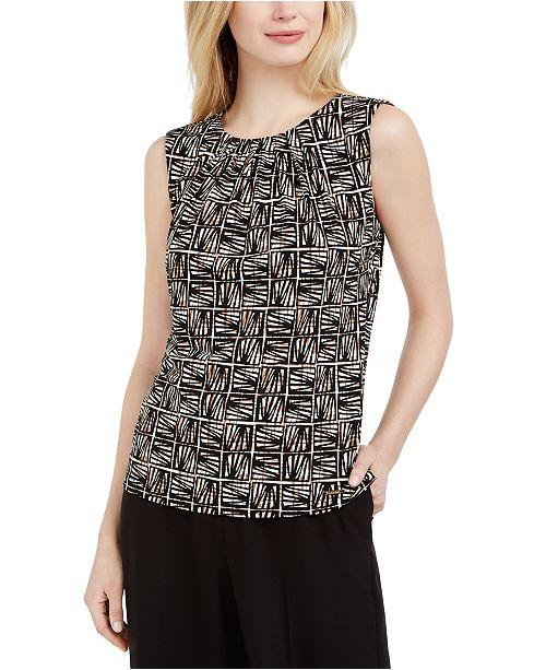 Calvin Klein Petite Printed Pleat-Neck Top