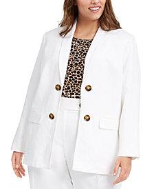 Calvin Klein Plus Size Double-Breasted Open-Front Blazer