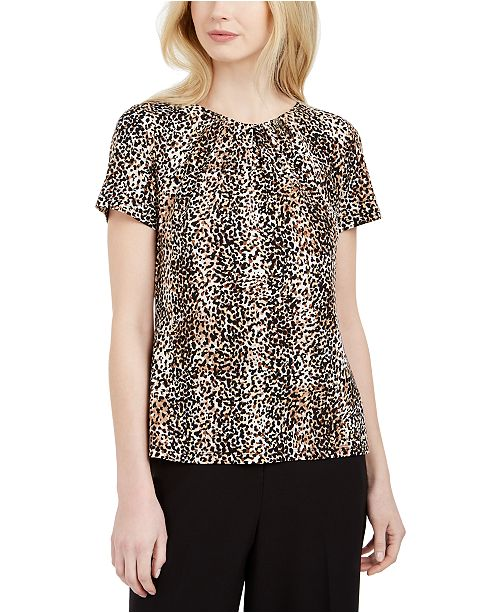 Calvin Klein Printed Pleated Top