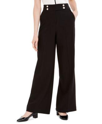 Wide-Leg Faux-Pearl-Button Pants