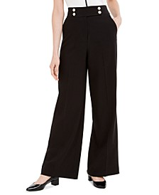 Wide-Leg Faux-Pearl-Button Pants