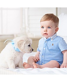 Baby Boys Knit Oxford Cotton Shortall
