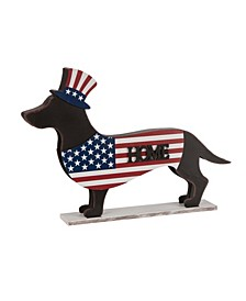 "24.52""L Metal-Wooden Patriotic Double Sided Home-Welcome Dachshund Decor"