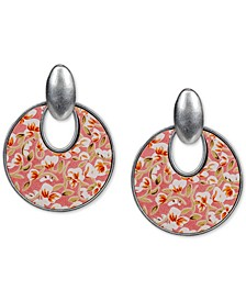 Silver-Tone Rose-Print Leather Inset Doorknocker Drop Hoop Earrings