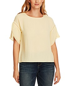 Tulip-Sleeve Rumple Blouse