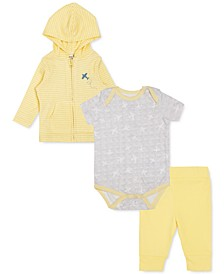 Earth by Baby Boys 3-Pc. Organic Cotton Striped Hoodie, Plane-Print Bodysuit & Leggings Set