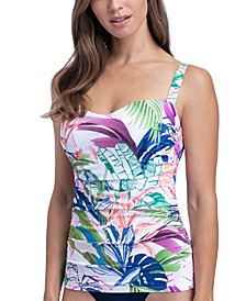 Club Tropicana Underwire D-Cup Tummy Control Tankini Top