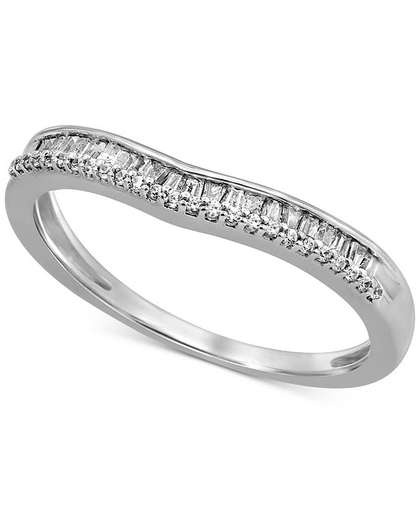 Macy's Diamond Baguette Wavy Band (1/6 ct. t.w.) in 14k White Gold