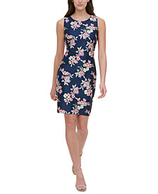 Tommy Hilfiger Petite Floral-Print Scuba Sheath Dress