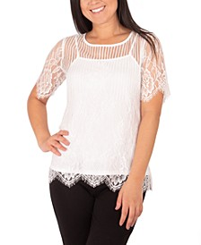 Mixed-Lace Top