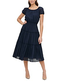 Cotton Tiered Midi Dress