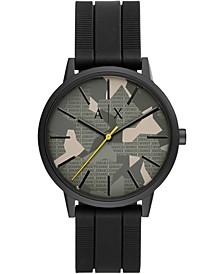 Men's Cayde Black Silicone Strap Watch 42mm