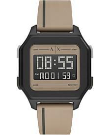 Men's Digital Shell Beige Polyurethane Strap Watch 44mm
