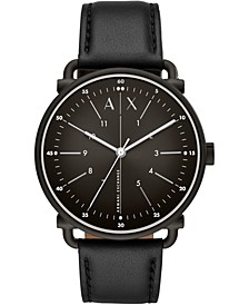 Men's Rocco Black Leather Strap Watch 44mm