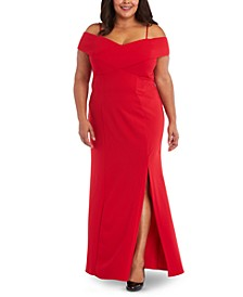 Plus Size Portrait-Collar Scuba Gown