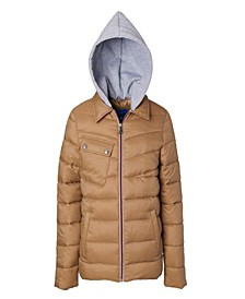 Little Boys Quilted Jacket with Fleece Hood