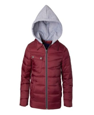 DKNY Girls Big Quilted Bomber Jacket with Fleece Hood