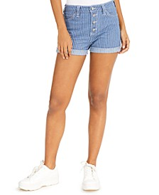 Button-Fly Striped Cuffed Shorts