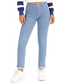 Junior's Striped Skinny-Fit Cuffed Jeans