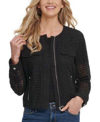 Cotton Crocheted Collarless Jacket