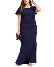 Plus Size Flutter-Sleeve Scuba Crepe Gown