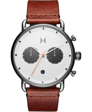 Mvmt Jewelry MEN'S CHRONOGRAPH RUGGED PACK SIENNA TAN LEATHER STRAP WATCH 47MM