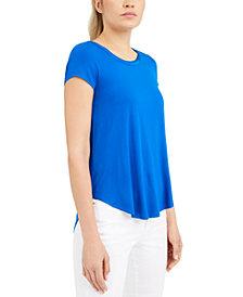 Alfani Petite Satin-Trim High-Low T-Shirt, Created for Macy's