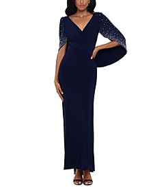 Embellished-Capelet Gown