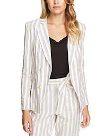 Duet Modern Striped Double-Breasted Blazer